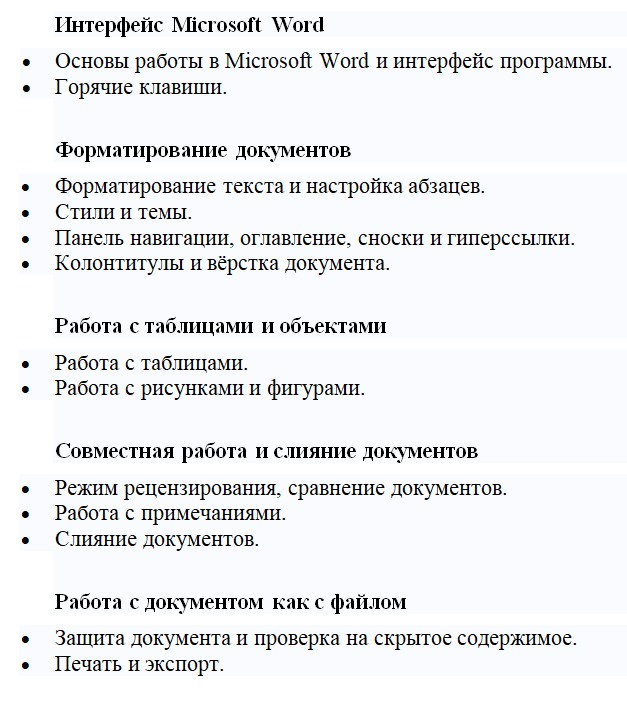 Программа курса MS Office Word